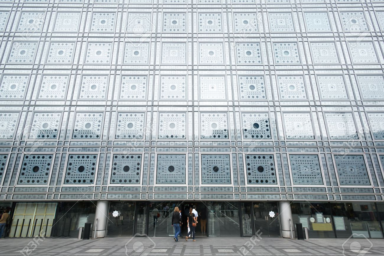 arab world institute in paris building by jean nouvel stock photo