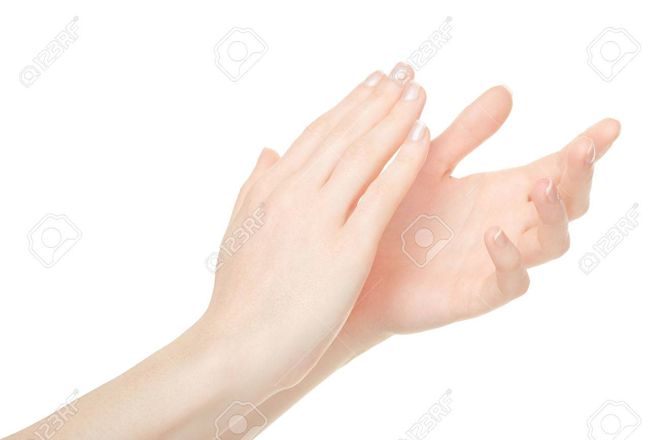 woman clapping hands applause on white clipping path stock photo