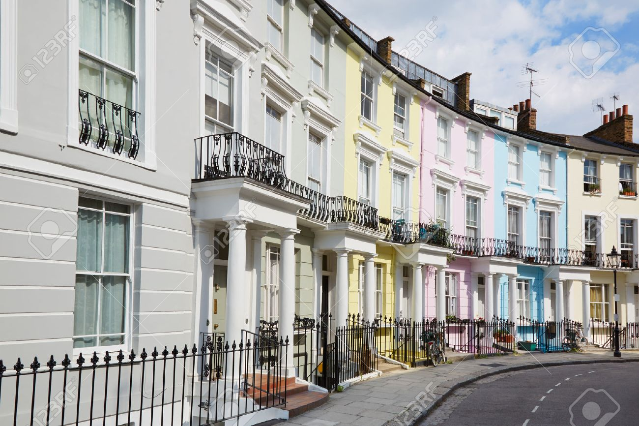 Colorful London Houses In Primrose Hill English Architecture Stock Photo
