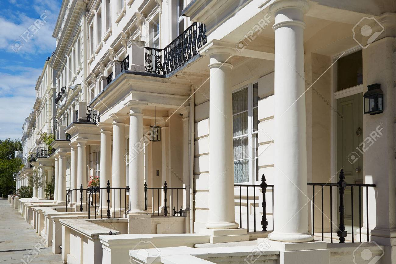White Luxury Houses Facades In London, Perspective View Stock Photo ...