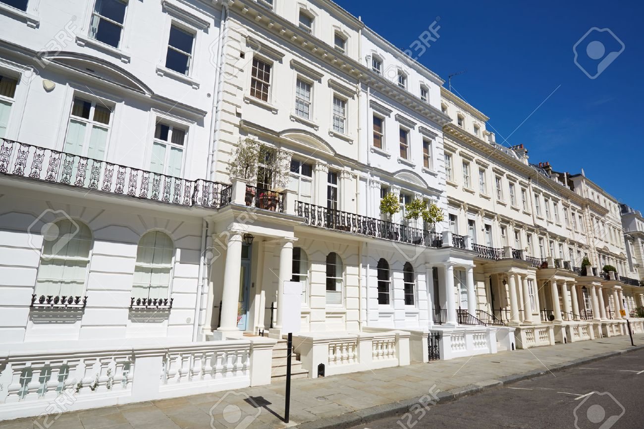 White Luxury Houses Facades In London, Notting Hill Stock Photo ...