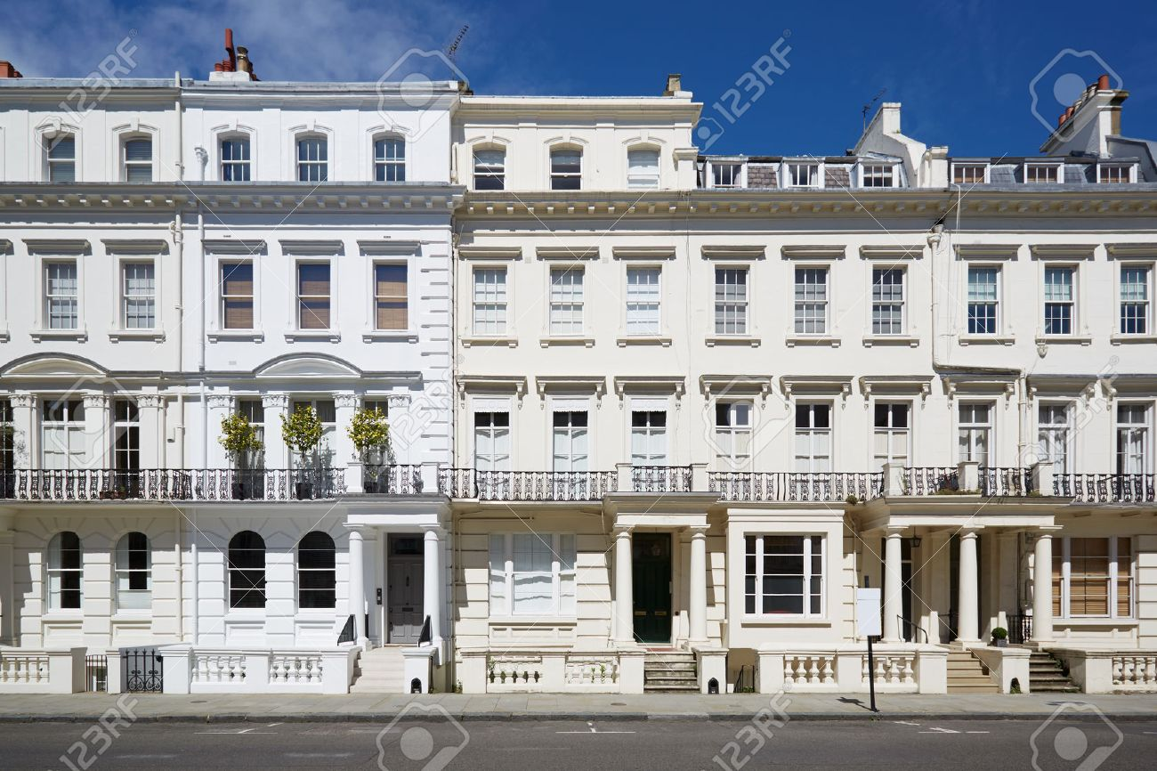 White Luxury Houses Facades In London, Kensington And Chelsea ...