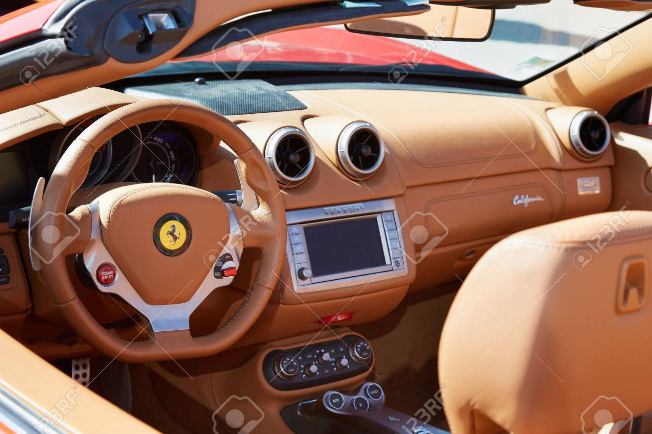 Ferrari California Leather Interior In Paris, Luxury Sport Car Stock Photo    51903291