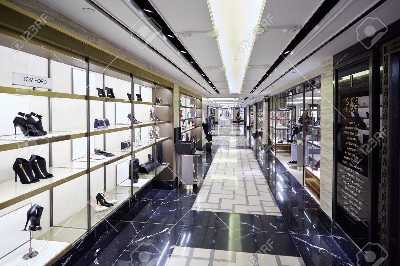 harrods department store interior shoe heaven area in london stock photo 54012185