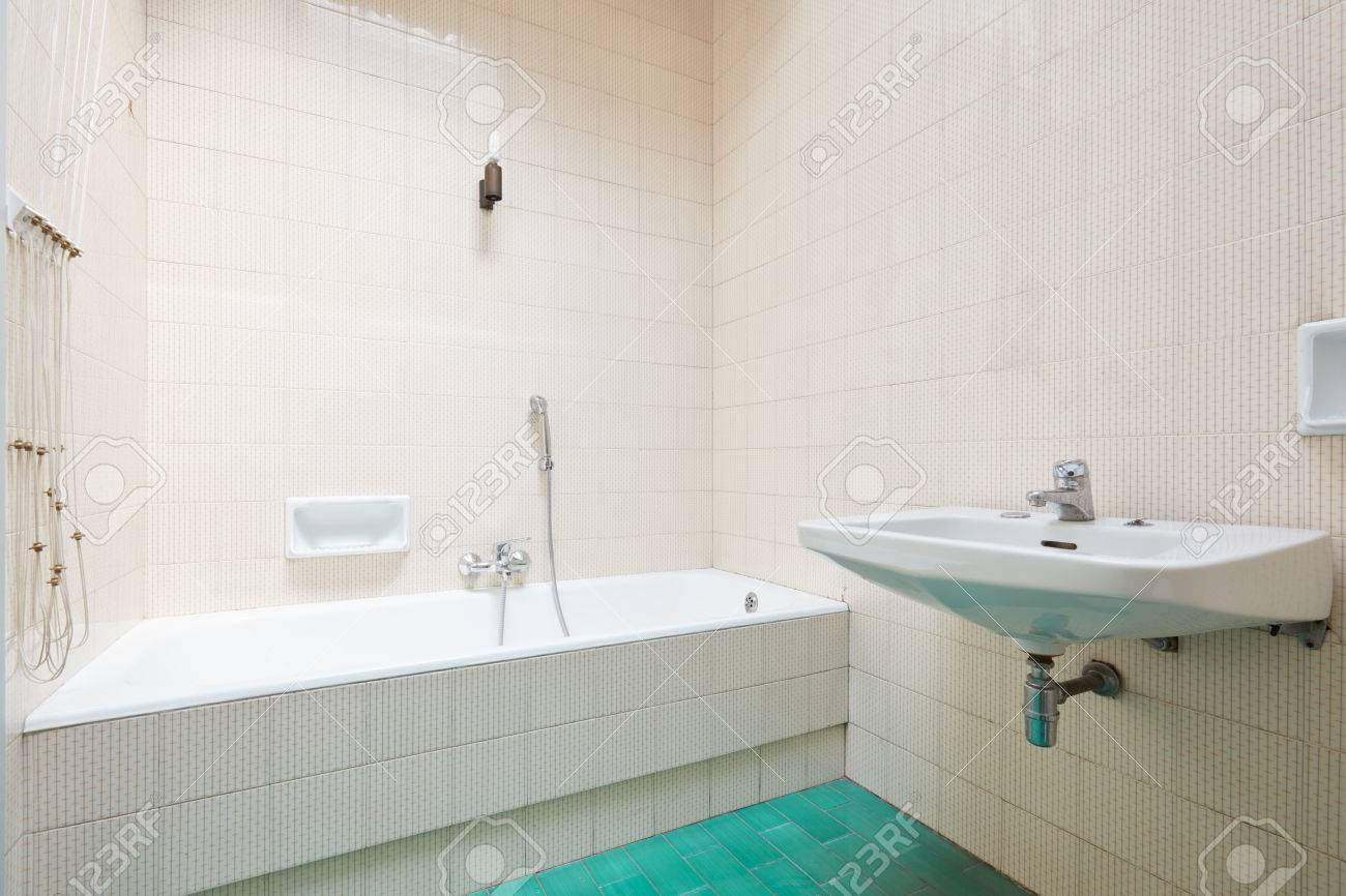 Old Bathroom, Tiled Interior With Bathtub Stock Photo, Picture And ...