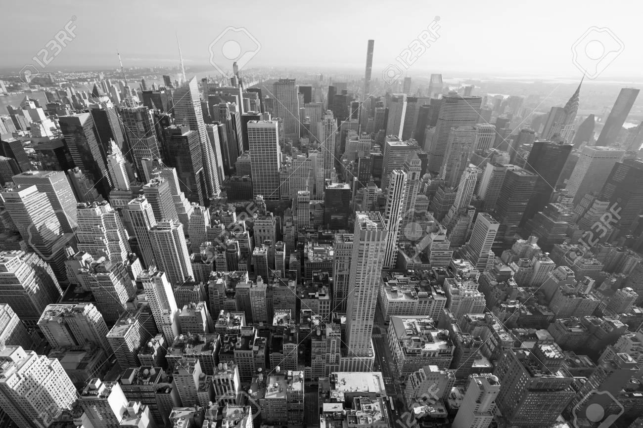 New york city manhattan skyline black and white aerial view