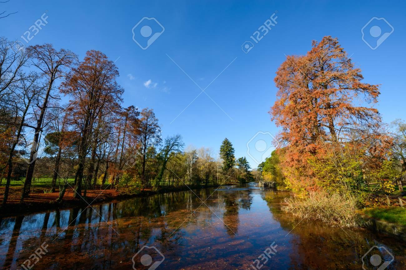 Vista autunnale del lago dei giardini margherita di bologna stock