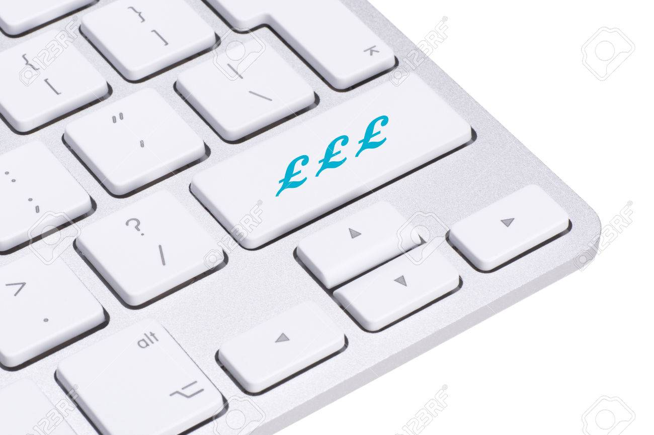 Sterling British Pound Sign Button On Keyboard Money Concept Stock