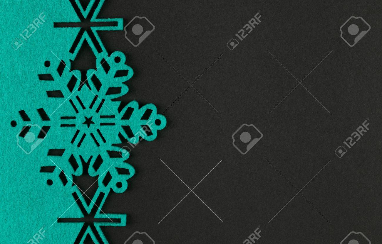 Unusual Design Christmas Background With Turquoise Snowflakes