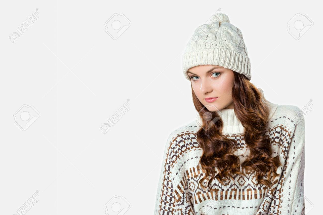 Gorgeous Girl Wearing Warm Knitted Christmas Jumper And A Hat ...