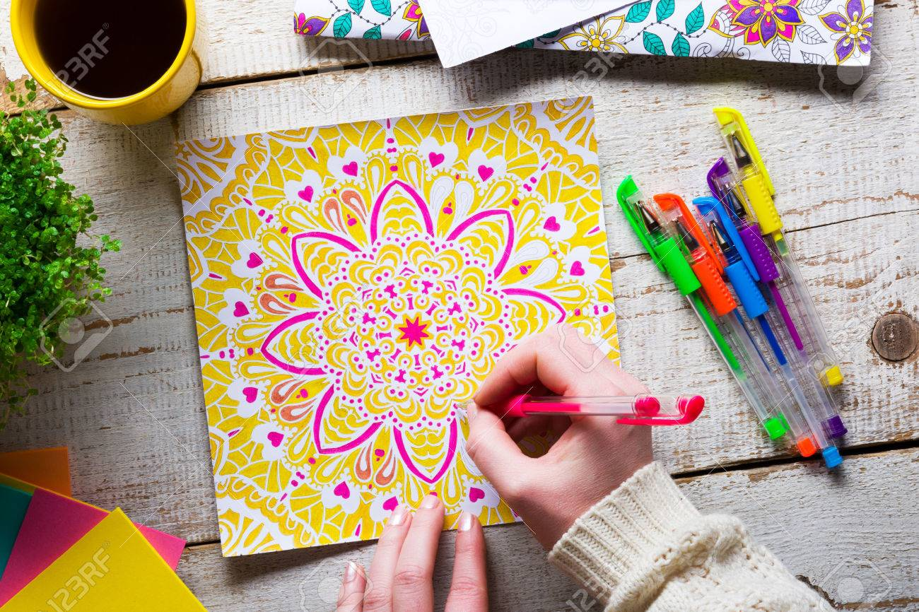 Woman Coloring An Adult Book New Stress Relieving Trend Mindfulness Concept Hand