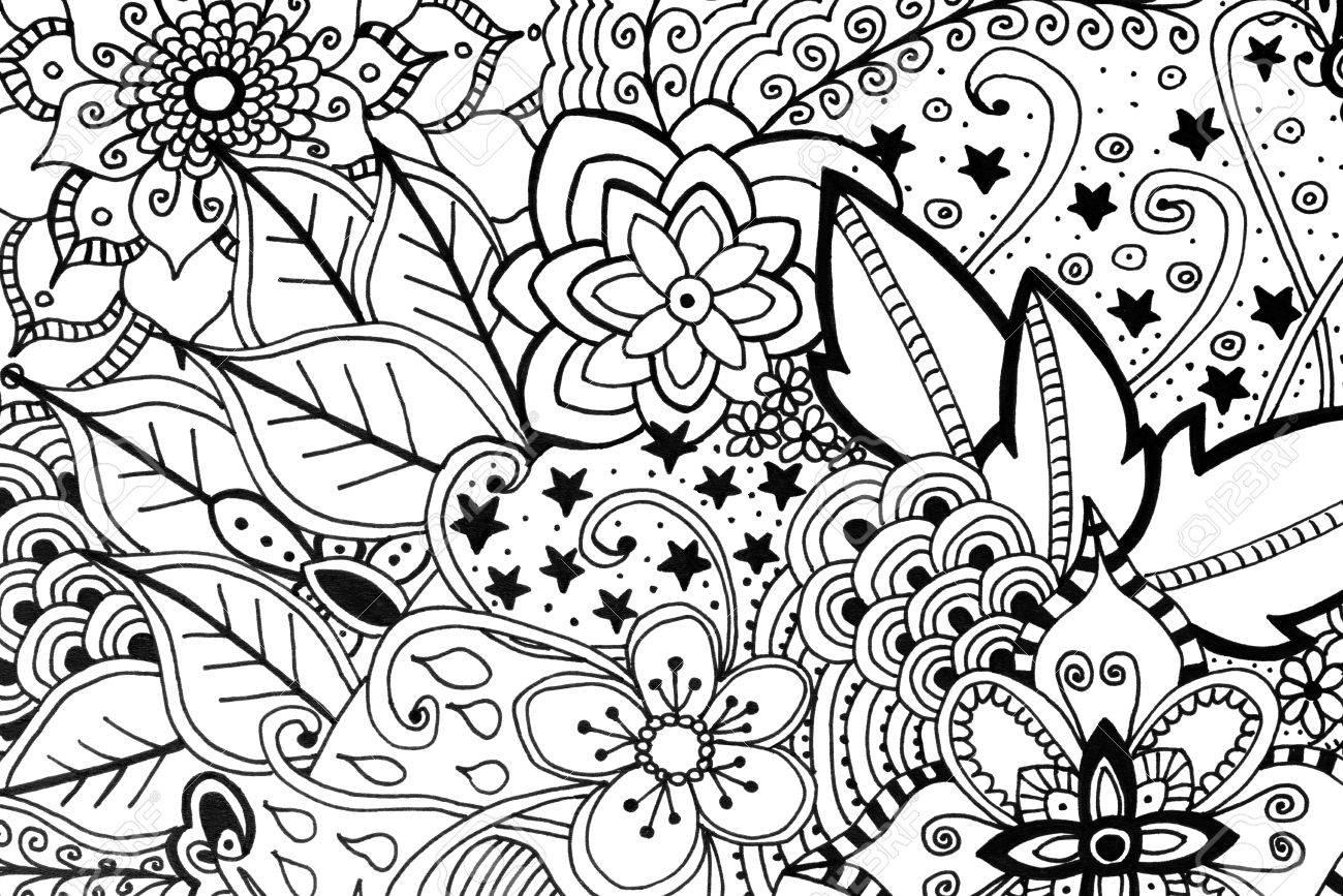 大人の塗り絵手描き下ろしイラスト新しいストレス傾向を緩和 の写真