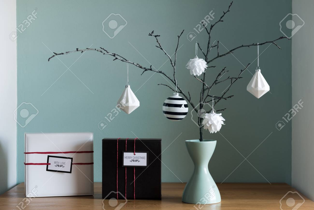 Modern And Elegant Nordic Christmas Decor In Black And White.. Stock ...