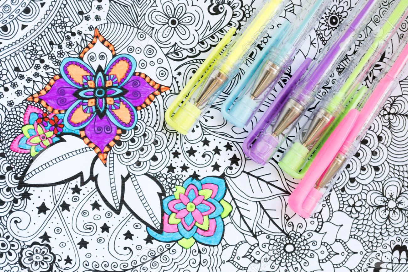 Adult Coloring Book New Stress Relieving Trend Art Therapy Stock Photo Picture And Royalty Free Image Image 104070668