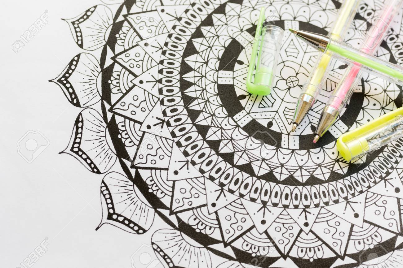 Adult Coloring Book, New Stress Relieving Trend. Art Therapy ...