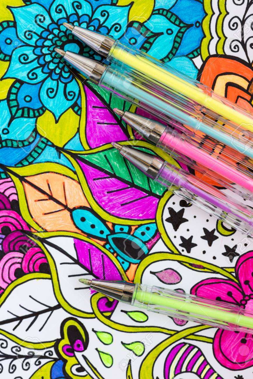 - Adult Coloring Book, New Stress Relieving Trend. Art Therapy