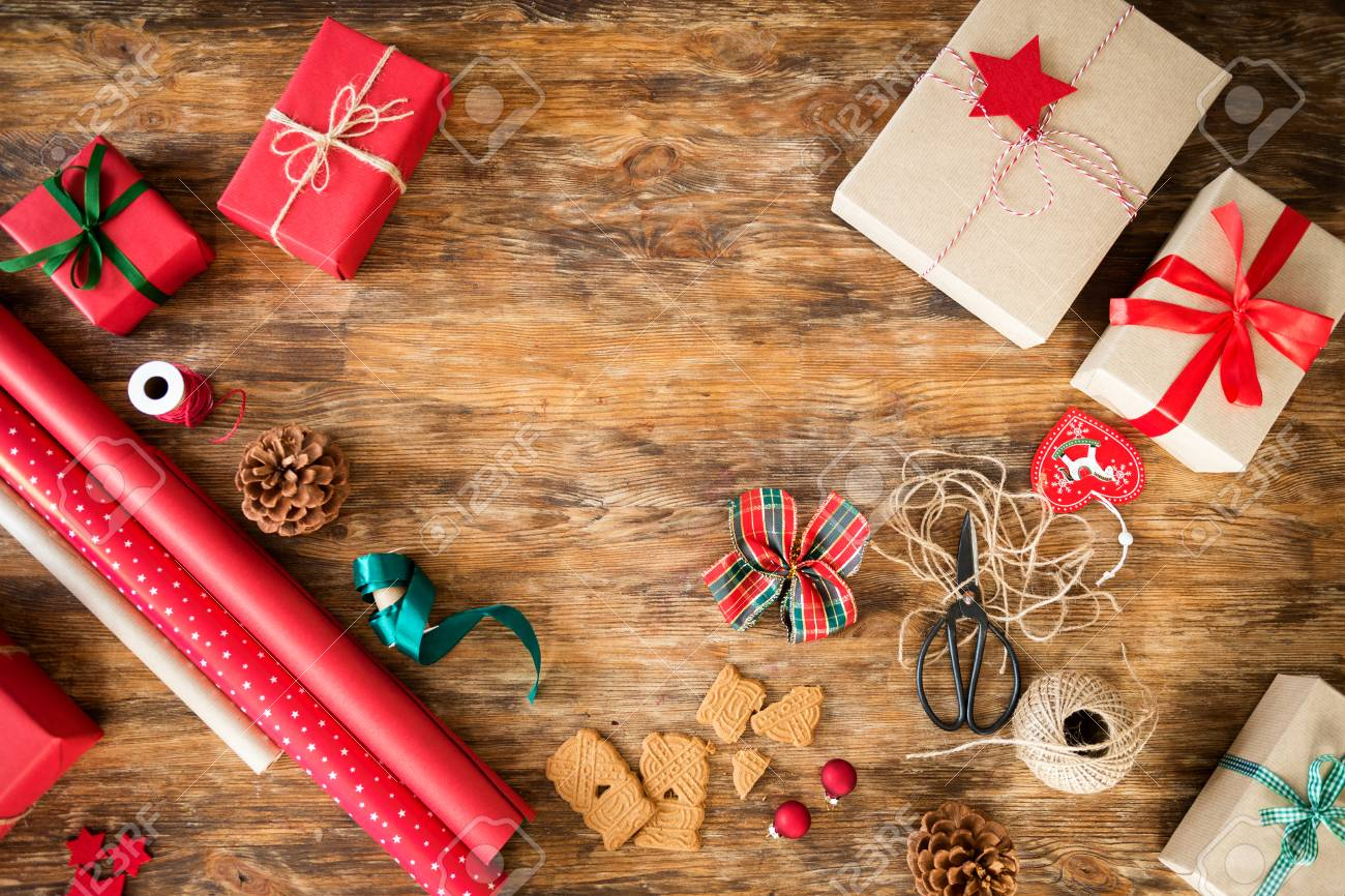 Christmas Gift Wrapping Station.Diy Gift Wrapping Beautiful Red Christmas Gifts On Rustic Wooden