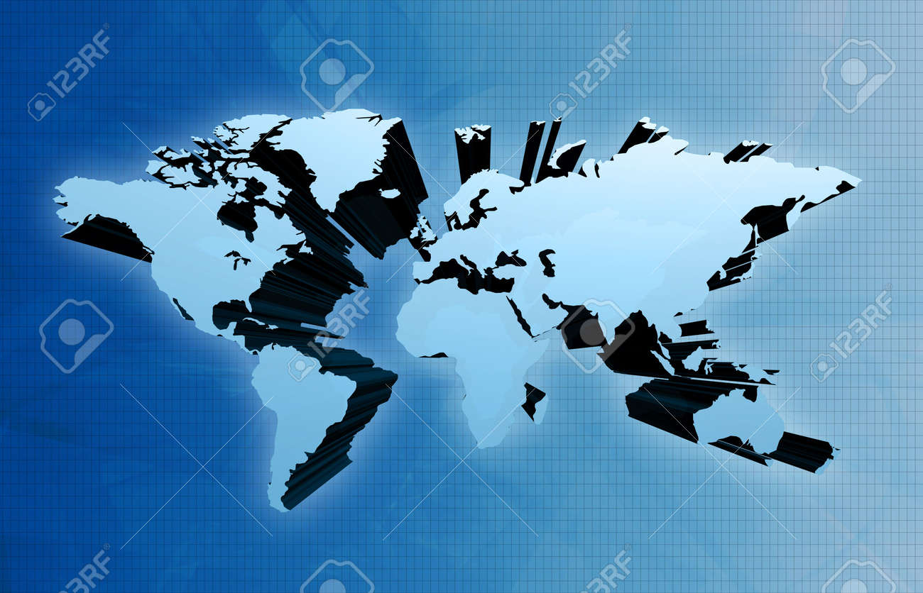 extruded 3d global world map stock photo 546241