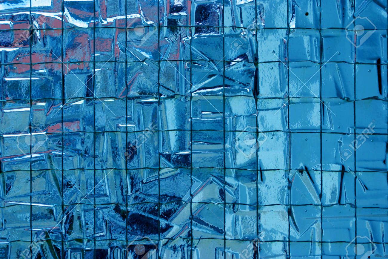 Reinforced Irregular Semi Transparent Blue Glass Partition Texture ...