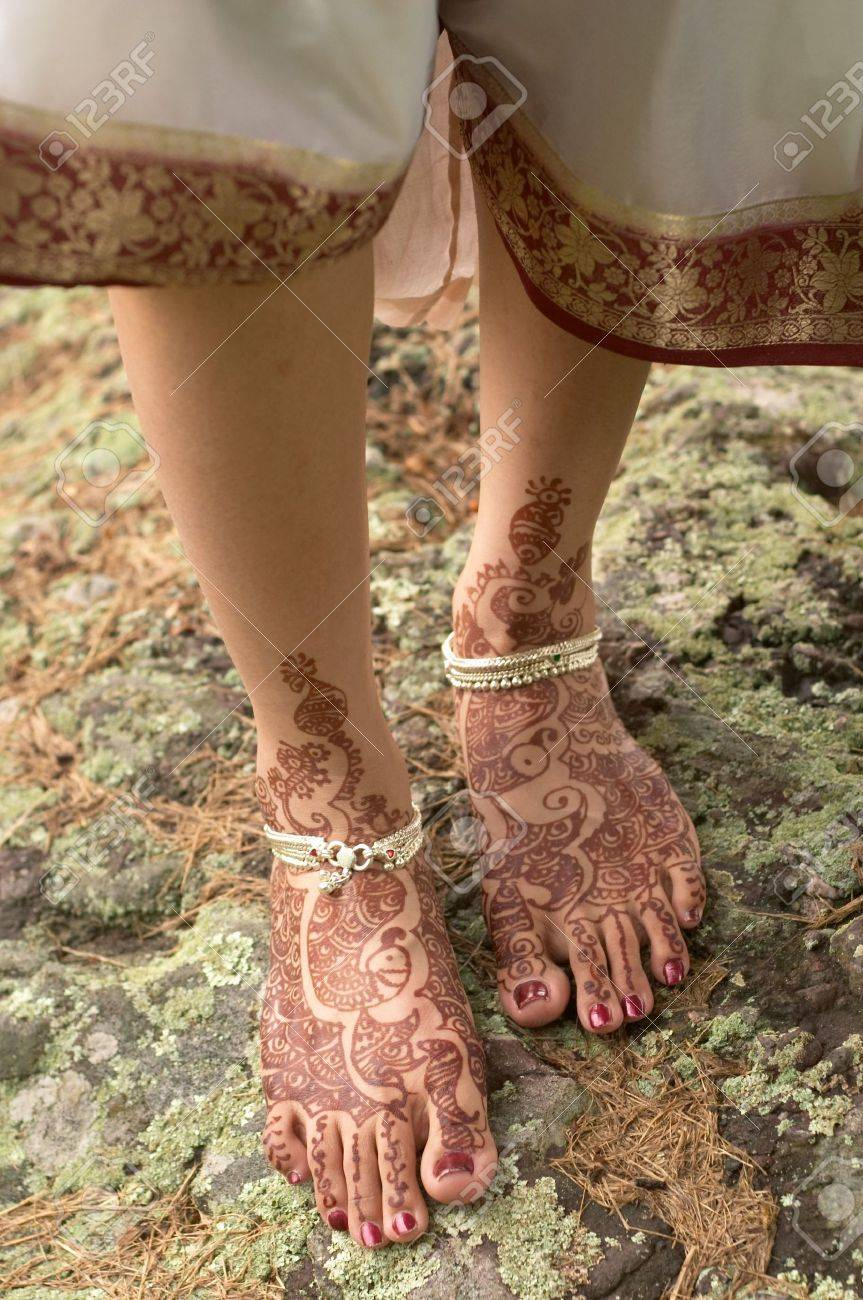 Hindu Henna Design On Feet Of Bride From India Stock Photo Picture