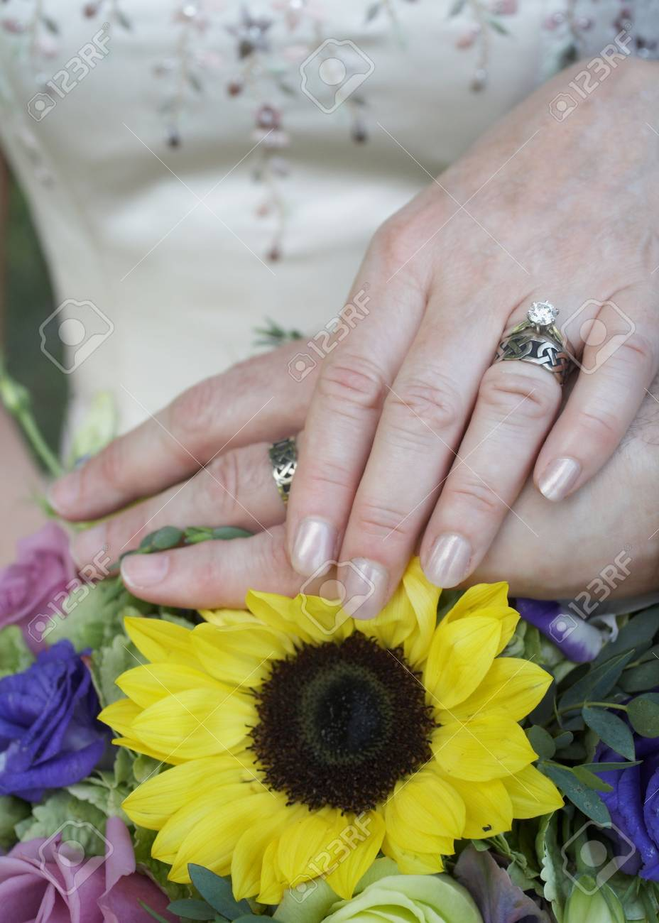 Wedding rings on hands of bride and groom, focus on hands Stock Photo - 3431043