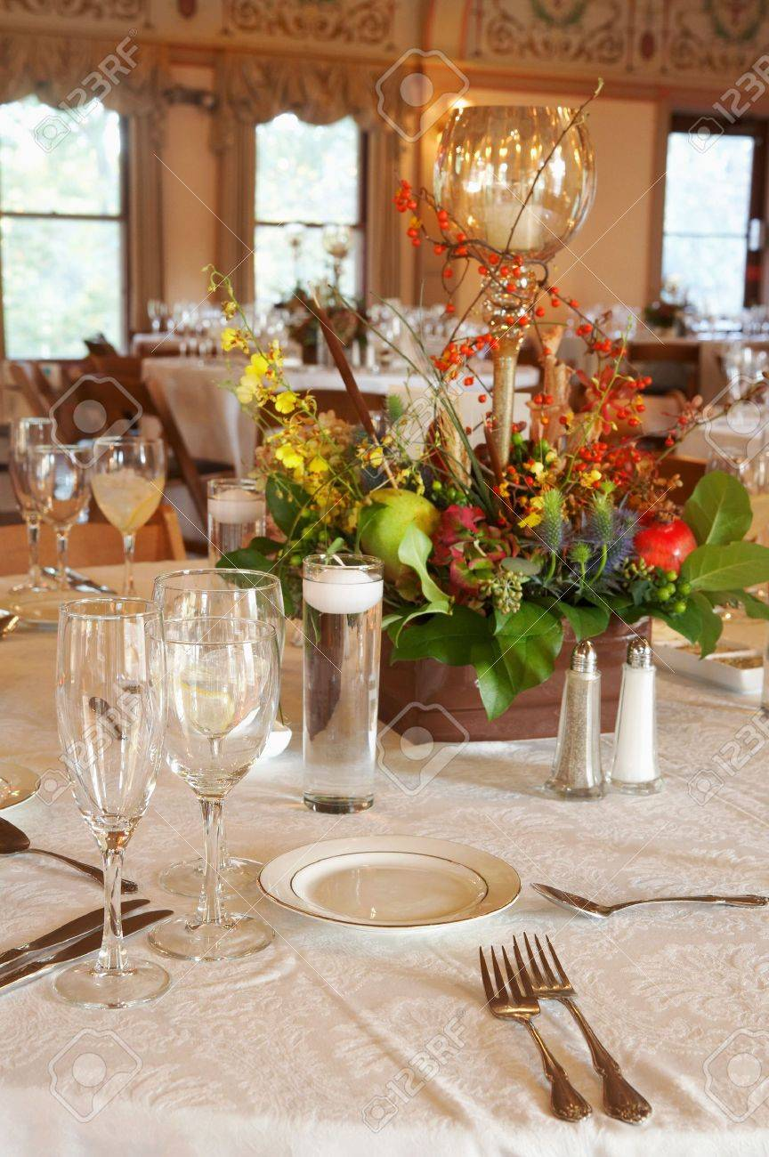 Fancy Table Setting At An Event Party Or Wedding Reception Stock Photo    4015240
