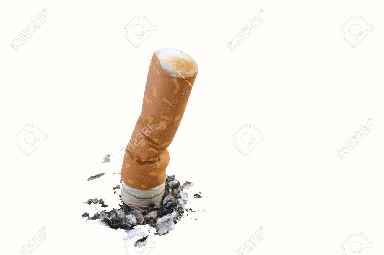 Cigarette butt with ashes isolated on white Stock Photo - 4417202