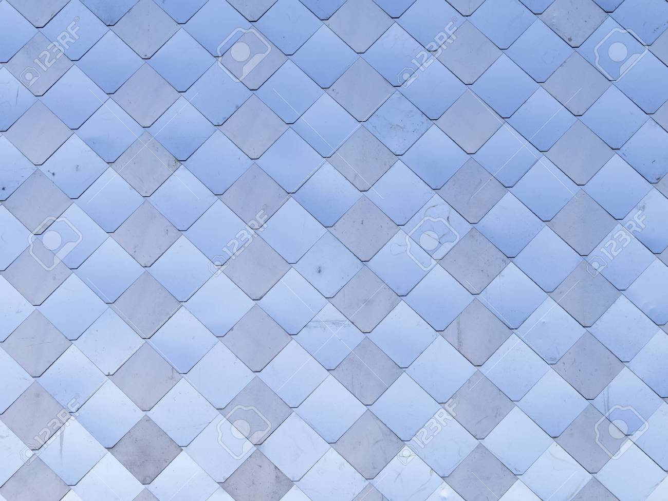 Old, Dirty Aluminum Metal Wall Panel With Rhombus-like Scales ...