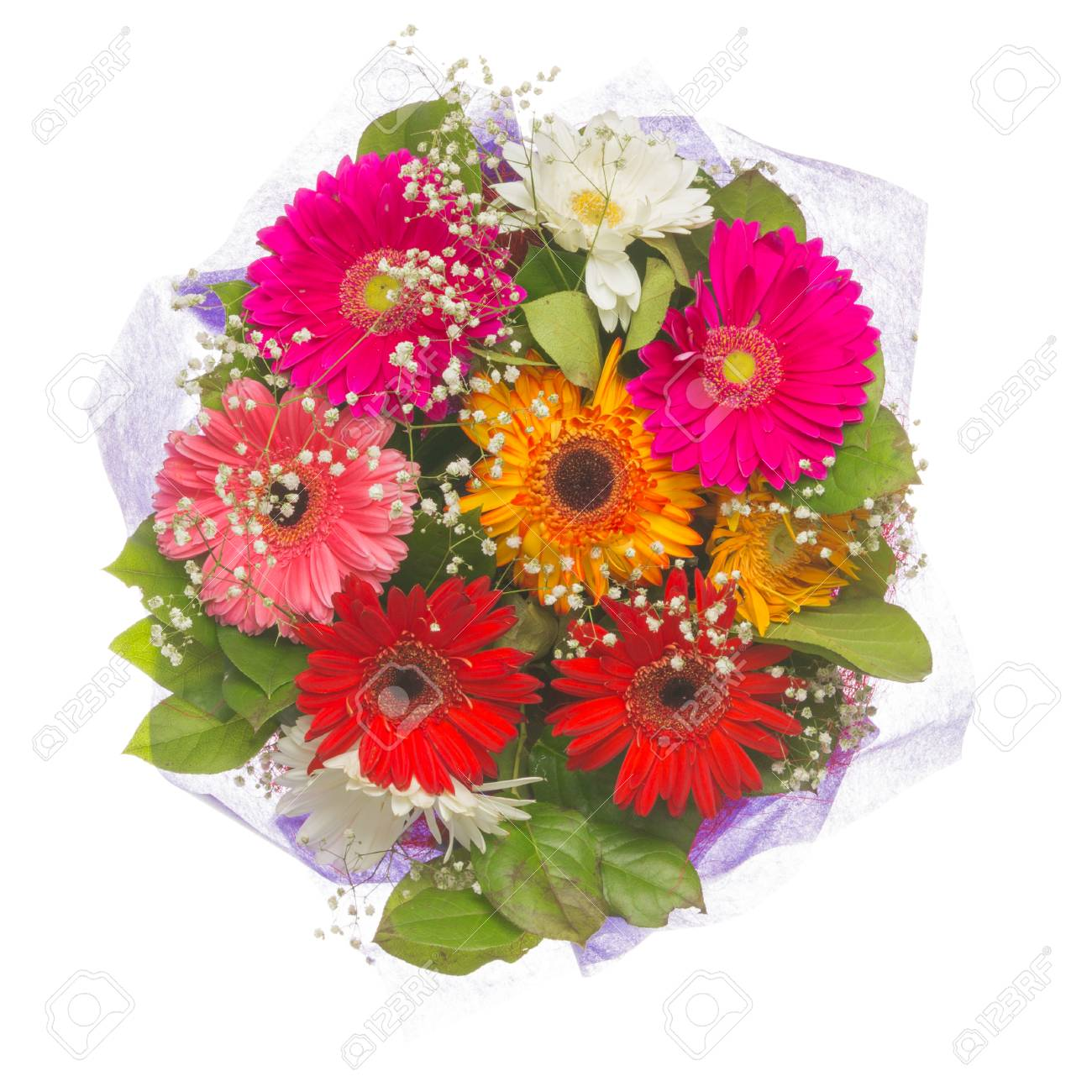 Bright Beautiful Summer Bouquet Of Flowers Of Pink, Purple, Red ...