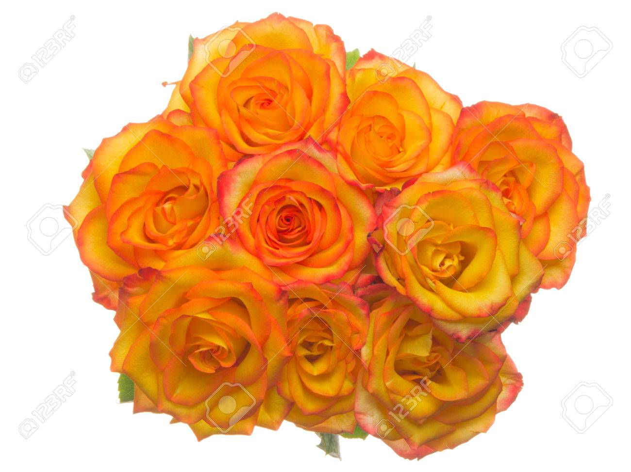 Beautiful Bright Unusual Bouquet Of Flowers Orange Yellow Rose