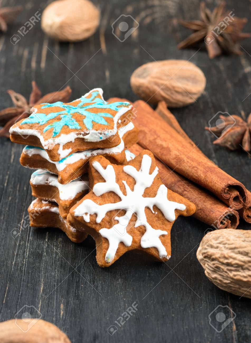 Homemade Christmas Gingerbread Snowflakes With Scattered Spices