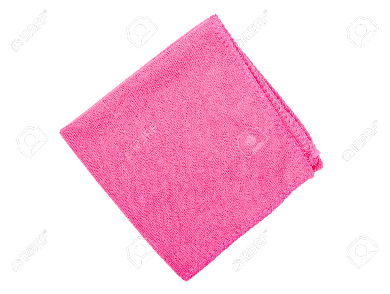 Small pink kitchen towel on white background, top view