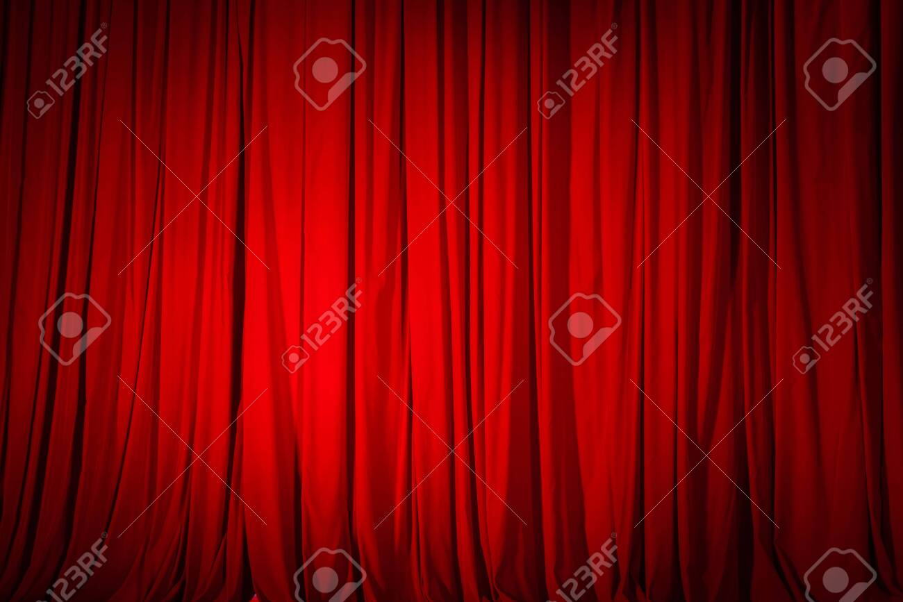 Closed red curtain in the theater, background texture. - 138645072
