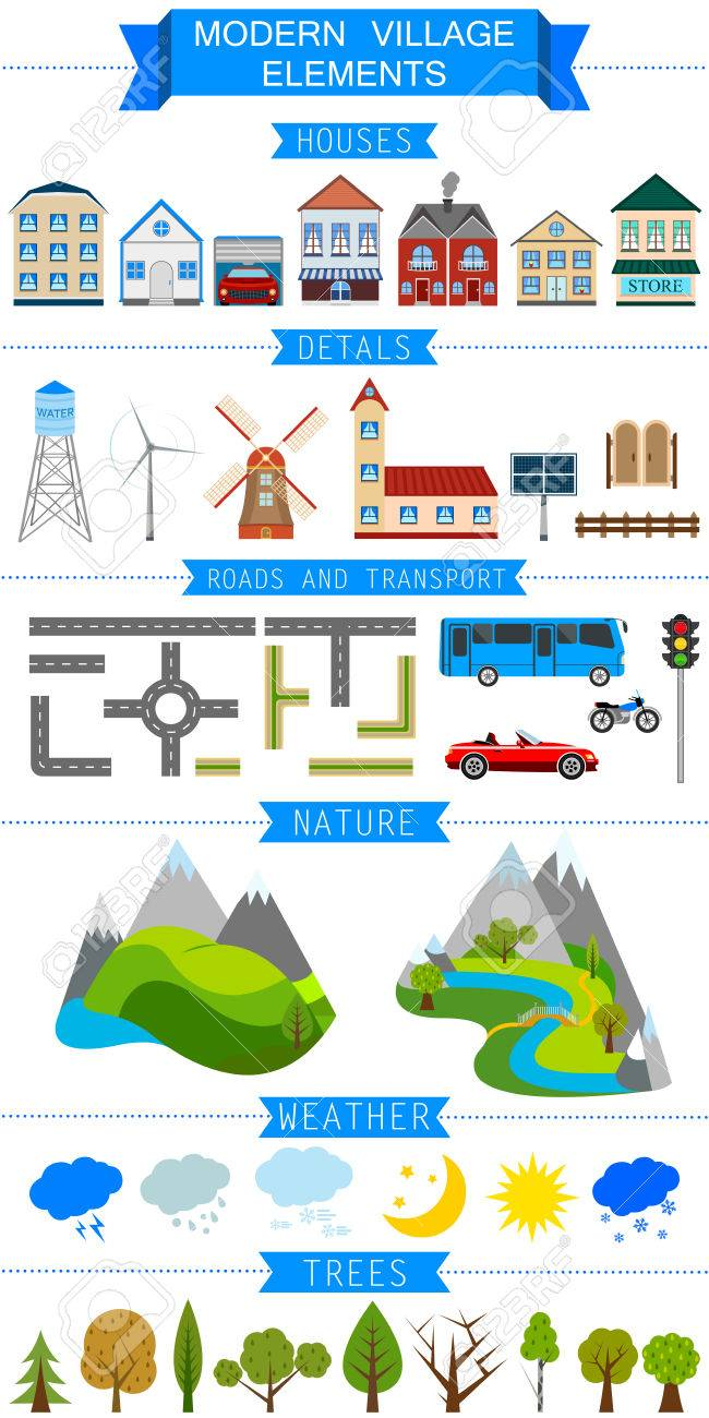 Elements of a modern village or city vector illustration stock vector 31658549