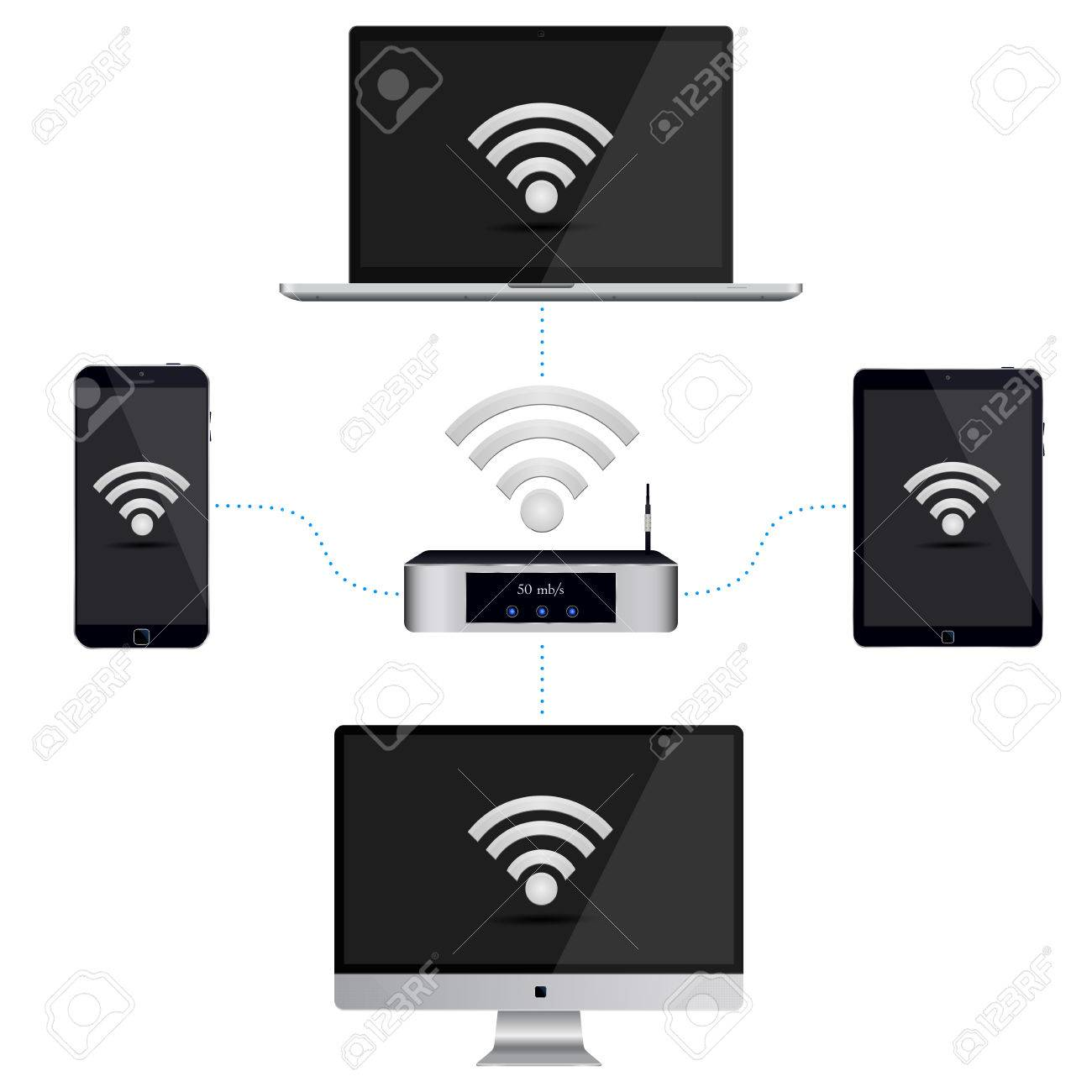wiring diagram of the smartphone pc and tablet to the router vector wiring diagram of the smartphone pc and tablet to the router a signal vector illustration on isolated white background