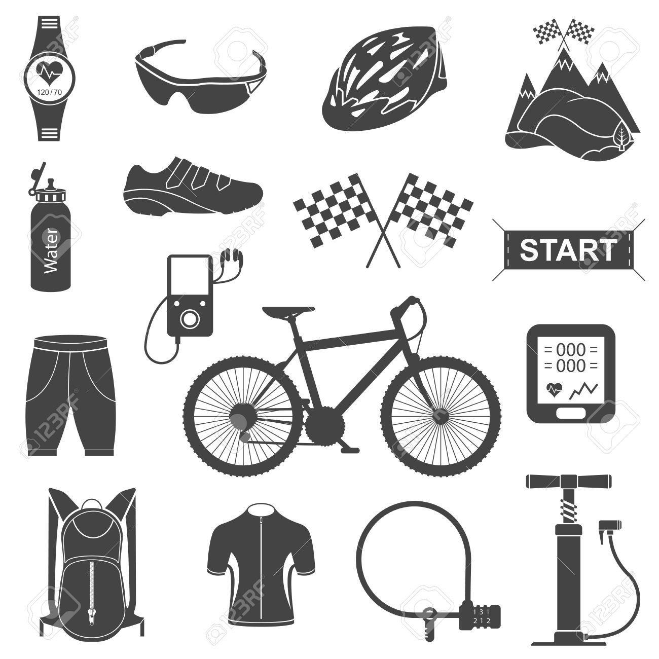 Bicycles Isolated Vector Bike Accessories Set Spare Parts For