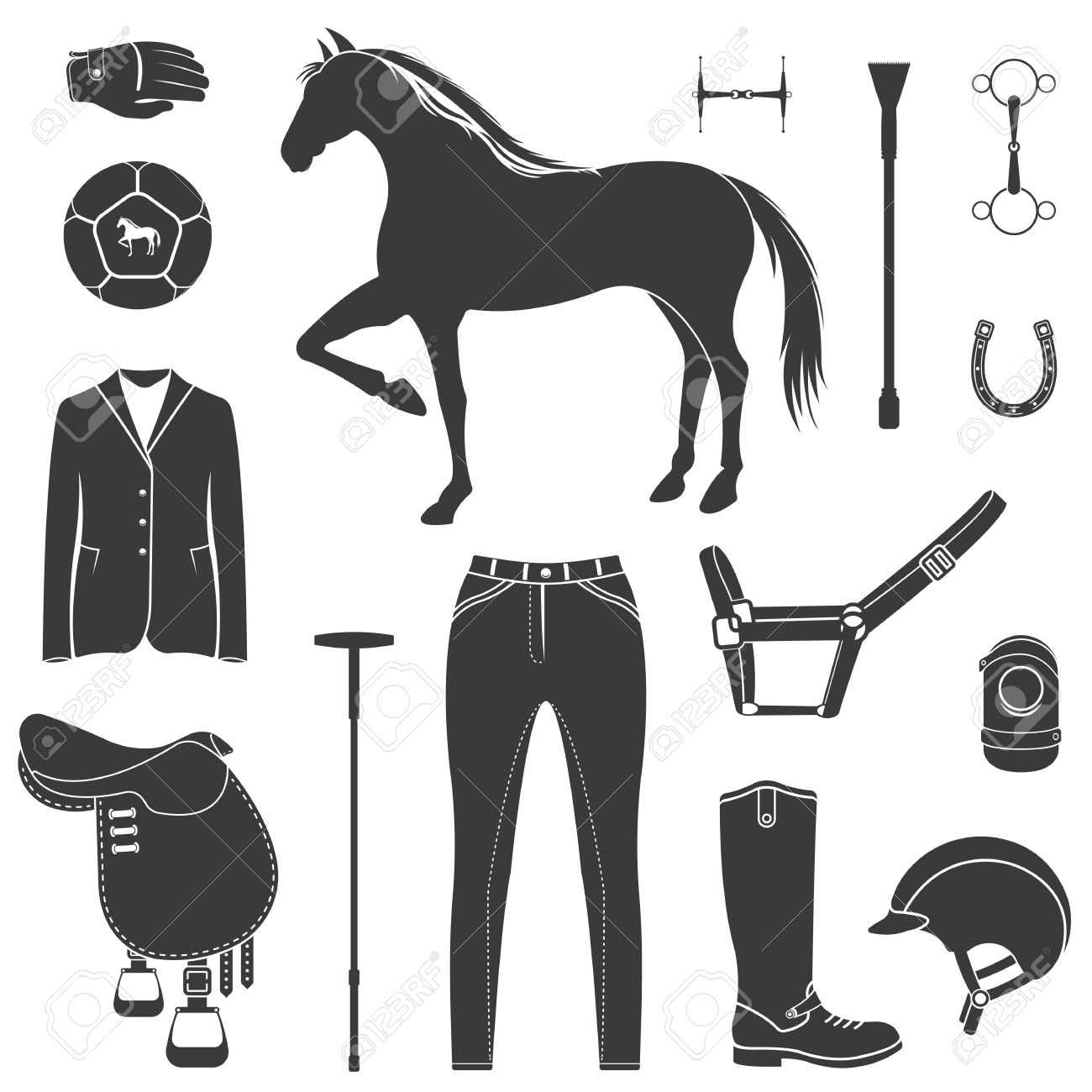 Vector Set Of Icons And Symbols For Sports Games Polo Silhouettes