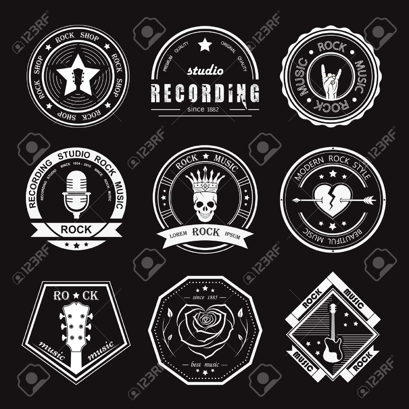 Set of rock music and recording studios  Music design elements