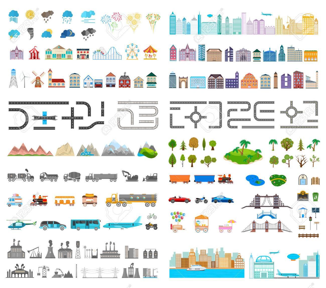 Elemente Der Modernen Stadt. Entwerfen Sie Ihre Eigene Stadt. Map ...