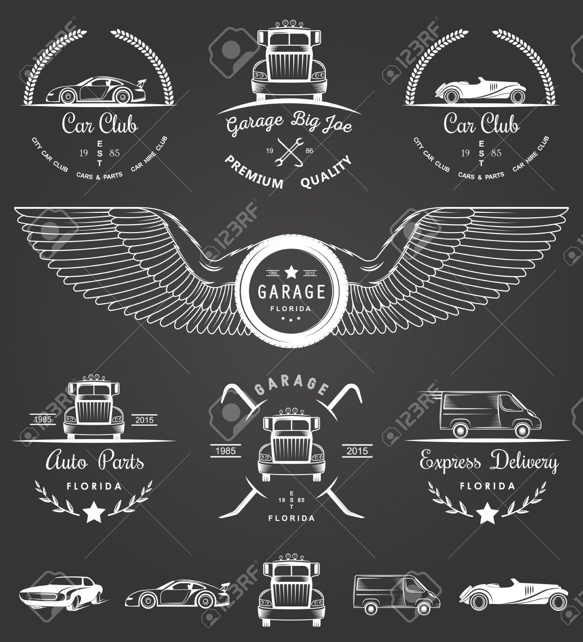 Car club sticker designs - Set Of Vintage Car Club Drift Club Auto Parts And Garage Labels Badges