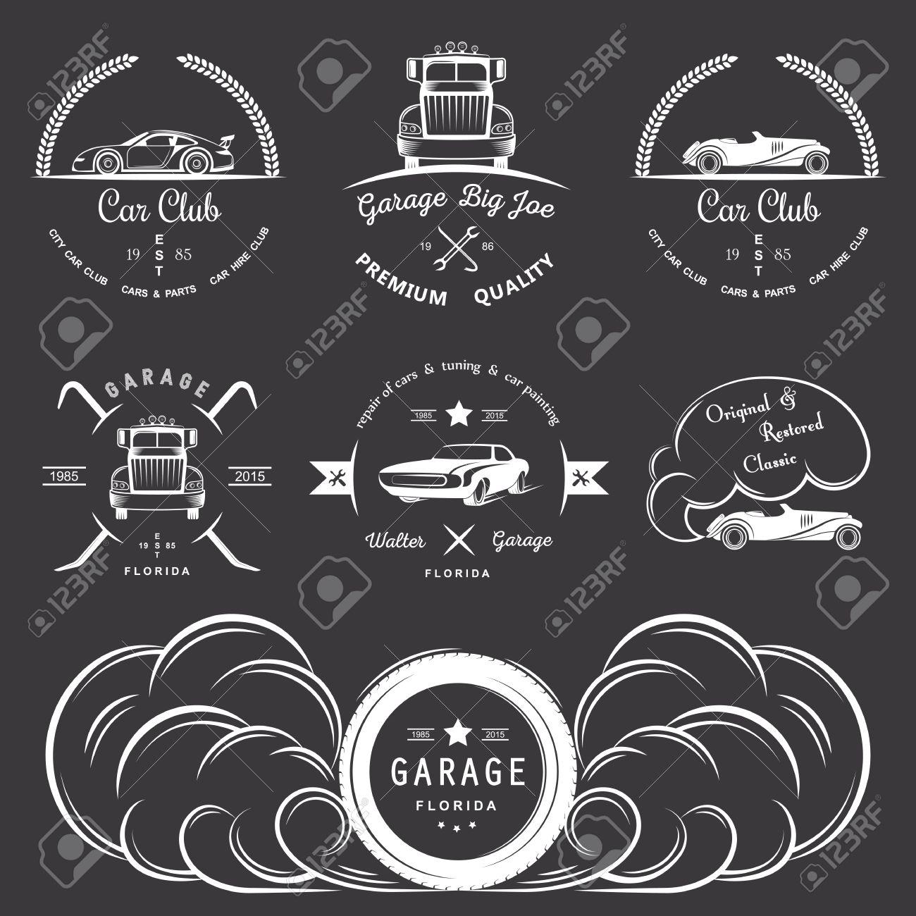 Set Of Vintage Car Club, Drift Club, Auto Parts And Garage Labels ...