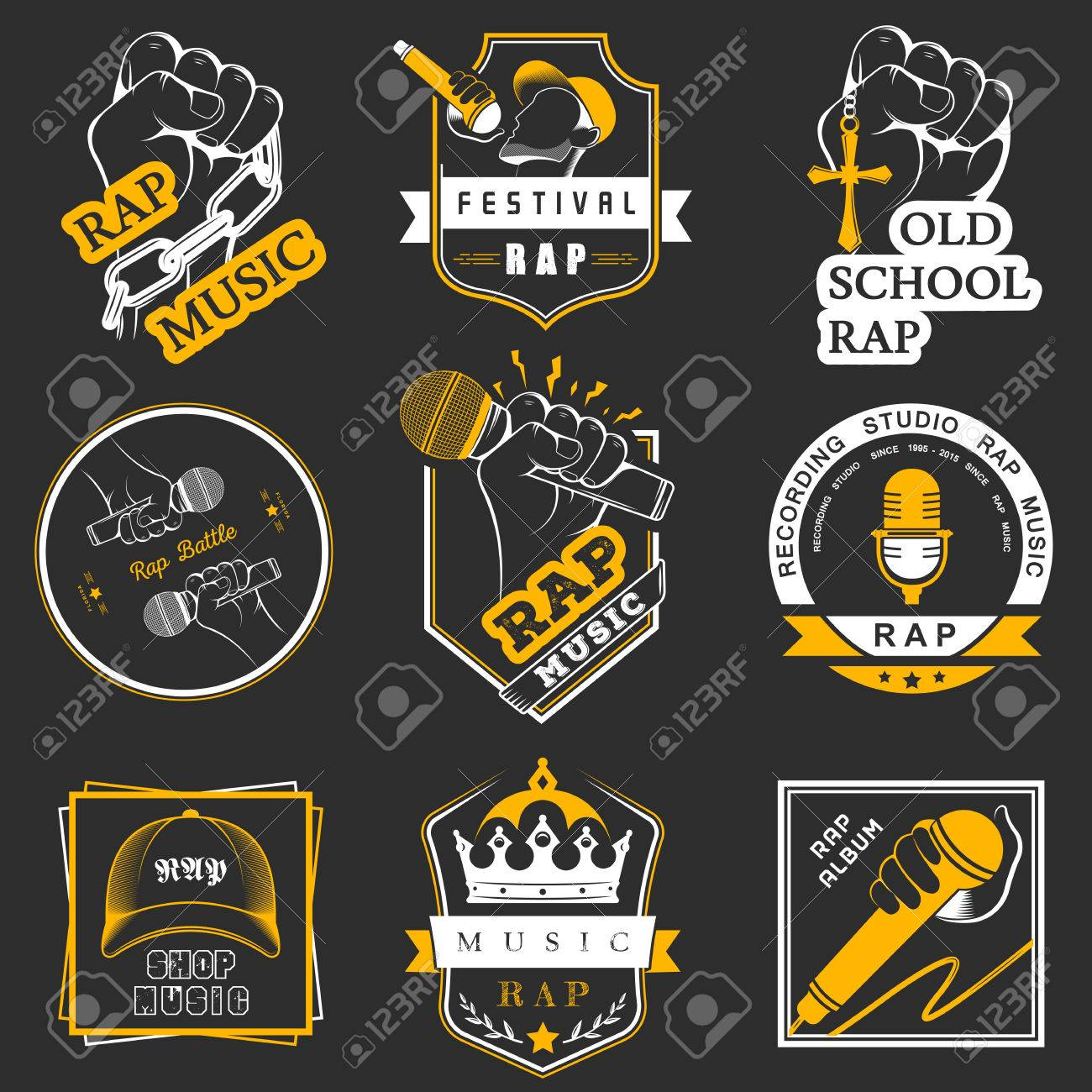 set of vector logos badges and stickers hip hop and rap music