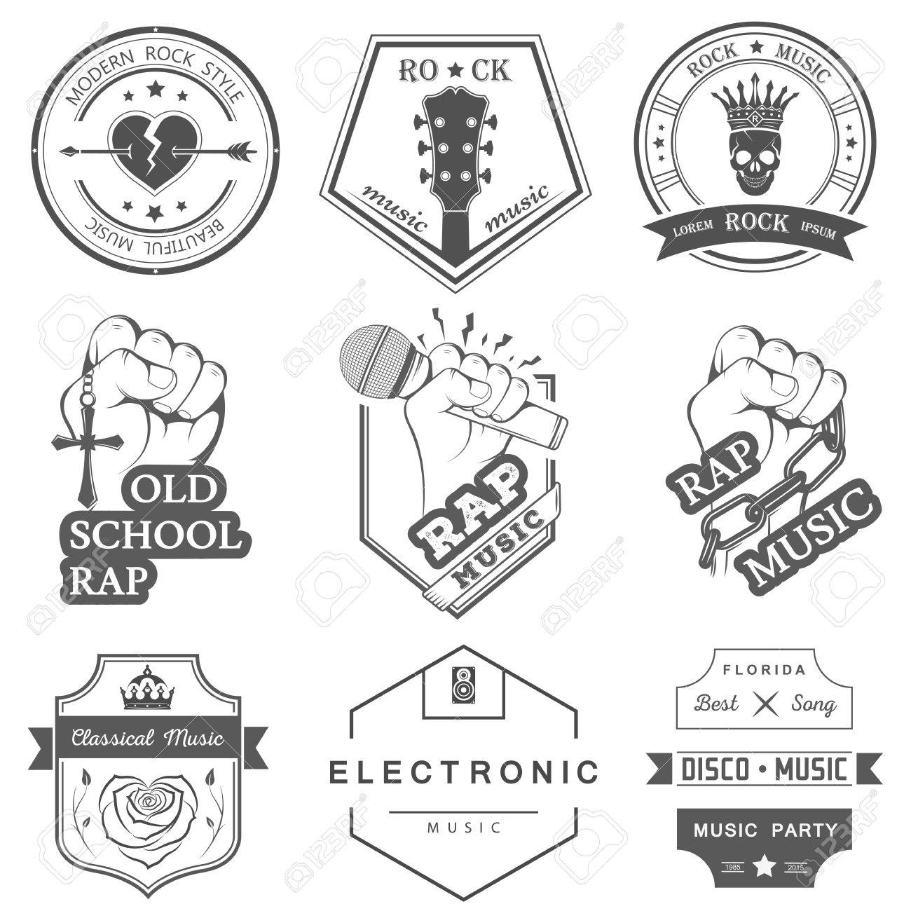Set Of Vector Badges And Logos Of Rock Music And Rap Classical Music