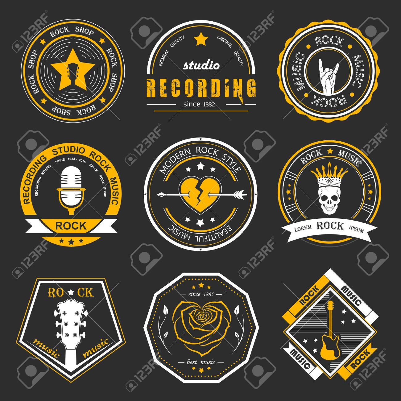Shirt design elements - Set Of Rock Music And Recording Studios Music Design Elements With Font Type And Illustration