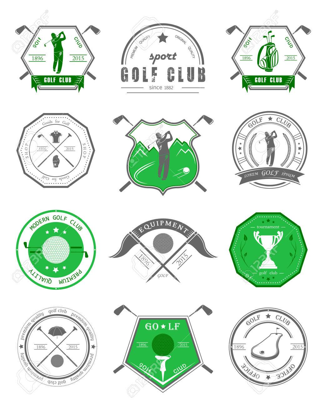 Vector Set Of Golf Club Logos Labels And Emblems Golfer Playing Royalty Free Cliparts Vectors And Stock Illustration Image 40911803