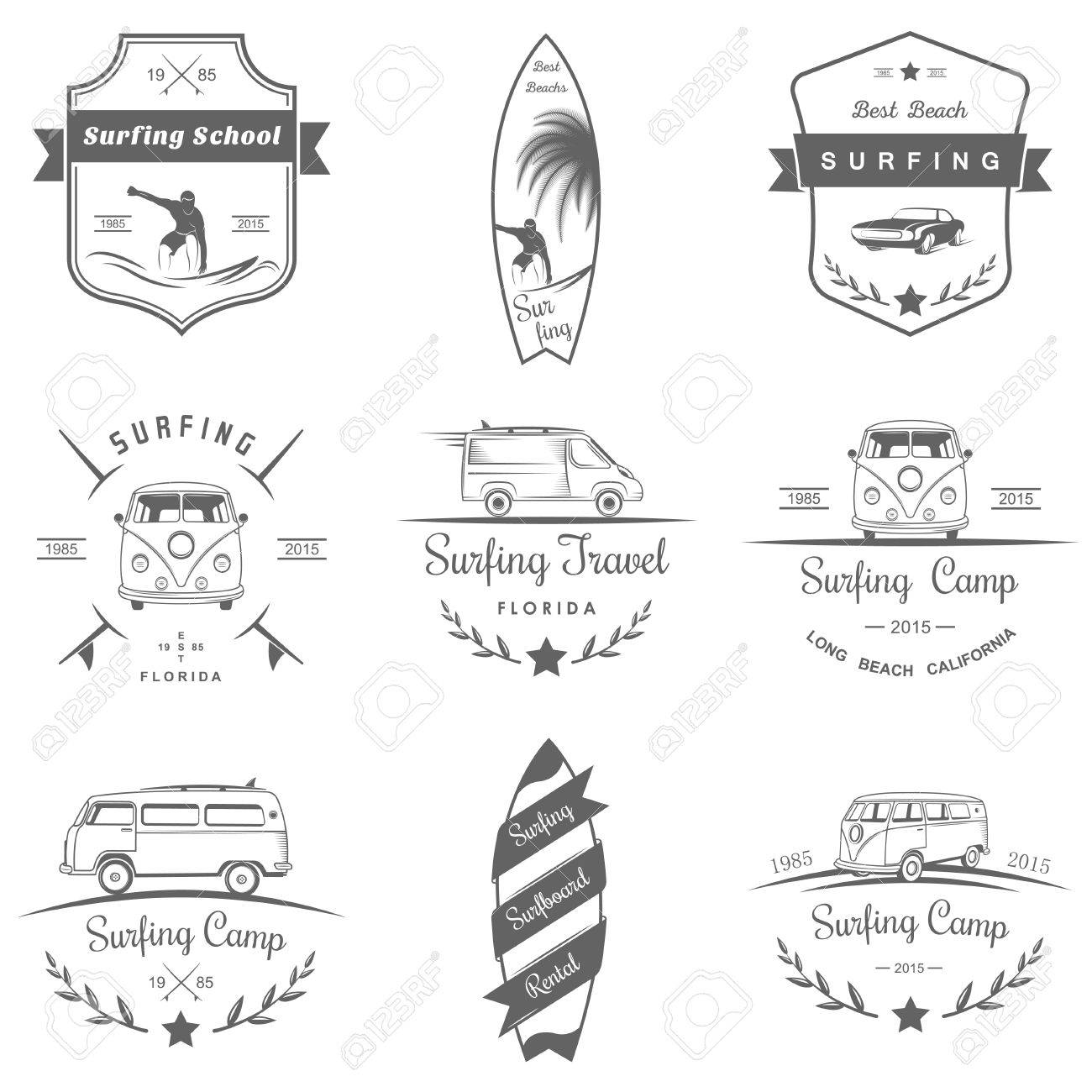Set Of Vector And Badges Surfing Camping Hiking And Outdoor