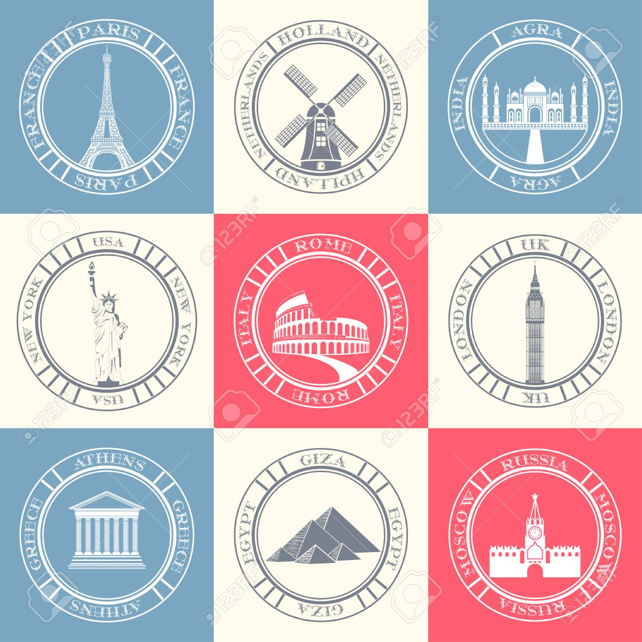 Vector Set And Badges Of Travel Collection Of Symbols And Signs