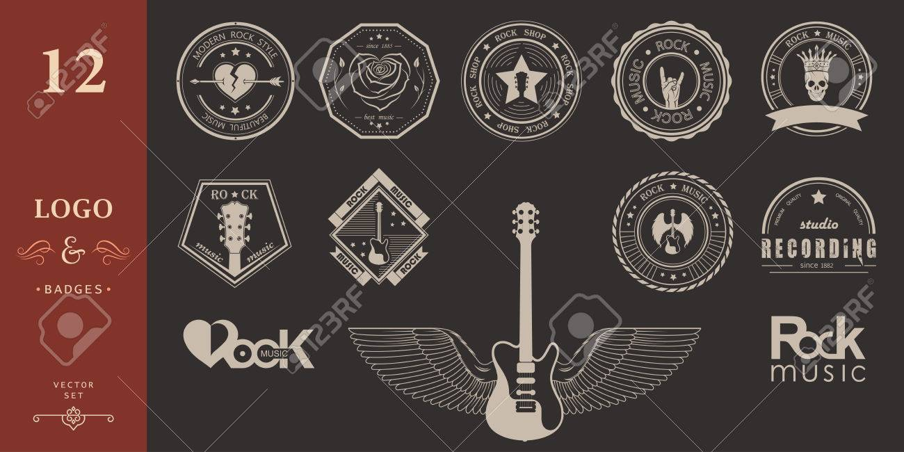 Set of logos rock music and recording studios  Music design elements