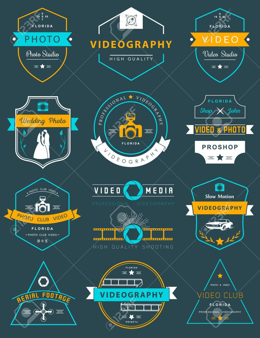 Collection Of Photography And Videography Logo Templates Wedding Aerial Footage Logotypes Vintage