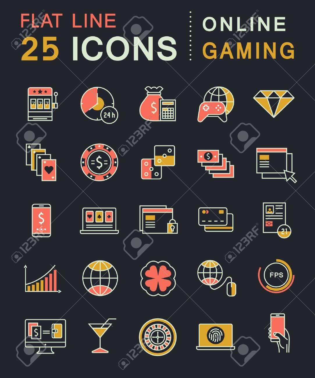 Set Vector Line Icons In Flat Design Online Gaming Casino Slot